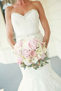 light pink and white bouquet by Acton Creative Flowers