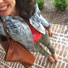 Friday Favorites:  camo pants, colorful tee, denim jacket, colorful pendant necklace, wedges, and leather tote.