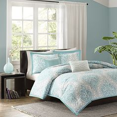 ⚜️ Add charm to your home with Intelligent Design Senna Comforter Set Full/Queen Size - Aqua Blue/Gray, Damask – 5 Piece Bed Sets – All Season Ultra Soft Microfiber Teen Bedding - Great For Guest Room and Girls Bedroom from Twin Bed Sets, Comforter Sets, Comforters, Home, Intelligent Design, King Comforter Sets, Duvet Cover Sets, Blue Comforter Sets, Bedding Sets