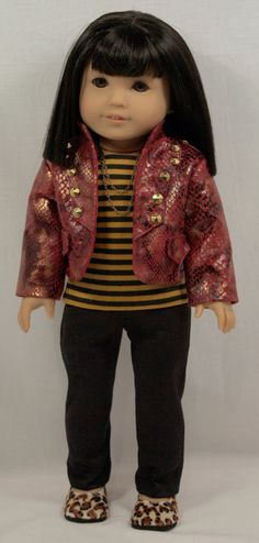 Snakeskin jacket and skinny jeans ensemble by AuroraandLuna. Made with the LJC Skinny Jeans pattern, found at http://www.pixiefaire.com/products/skinny-jeans-18-doll-clothes. #pixiefaire #libertyjane #skinnyjeans