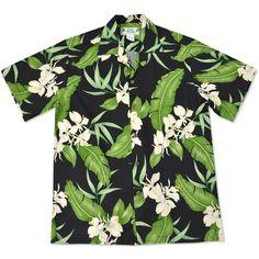 dark hawaiian aloha rayon shirt