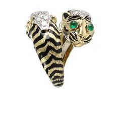 Double Tiger Ring with Emeralds and...