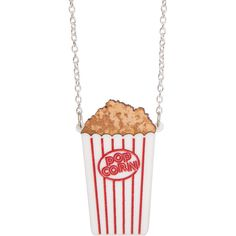 Popcorn Necklace ❤ liked on Polyvore featuring jewelry, necklaces, wooden necklace, engraved jewelry, laser cut jewelry, wooden chain necklace and chain necklaces