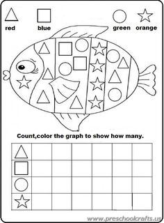 FREE kindergarten math activity for practiciing shapes and graphing= Rainbow Fish Graphing Activities, Kindergarten Math Activities, Homeschool Math, Fun Math, Numeracy, Rainbow Fish Activities, Math Games, Kindergarten Shapes, Pre K Activities
