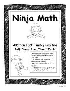 addition ninja math fact fluency practice self correcting timed tests do you want something similar