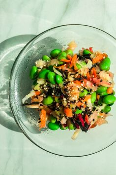 A Carrot-Edamame-Salad - the perfect side dish to the Miso Tofu with Rice! Like this, we get a complete meal that will nourish us! Healthy Fats, Healthy Cooking, Healthy Snacks, Healthy Eating, Healthy Recipes, Asian Side Dishes, Edamame Salad, Marinated Tofu, Side Salad