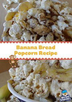 Delicious Banana Bread Popcorn Recipe from Kernel Season's. You'll go B-A-N-A-N-A-S over this easy popcorn treat! Popcorn Snacks, Flavored Popcorn, Gourmet Popcorn, Popcorn Recipes, Snack Recipes, Oreo Popcorn, Popcorn Balls, Blue Popcorn, Kernel Season's