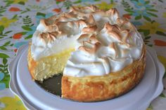 """""""Love lemon meringue pie and cheesecake? Well this is the best of both worlds. Great any time of year and sure to impress your guests."""" This Lemon Meringue Cheesecake is made with a buttery graham cracker crust, creamy Lemon Desserts, Just Desserts, Dessert Recipes, Lemon Recipes, Lemon Mirangue Pie Recipe, Avocado Recipes, Cupcake Recipes, Basic Cheesecake, Eggnog Cheesecake"""