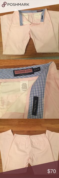 Pink chinos Men's pale pink Vinyard Vines pants. Tags removed but never worn. Slim fit style. 35x32. Vineyard Vines Pants Chinos & Khakis