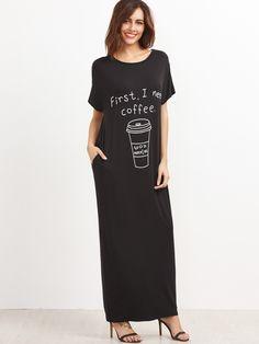 макси чёрное платье с принтом с карманом