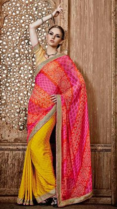USD 42.10  Pink Chiffon Party Wear Saree 47048