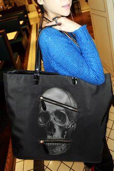 Skull Head Pattern Handbag Shoulder Bag, #Wendybox