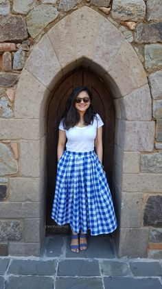 Blue and White checks midi skirt! Blue and White checks midi skirt! Frock Fashion, Skirt Fashion, Fashion Dresses, Indian Designer Outfits, Designer Dresses, Casual Frocks, Frock For Women, Long Skirt Outfits, Indian Gowns Dresses