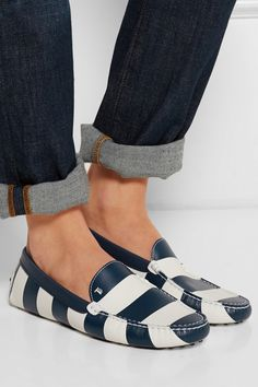 Tod's | Gommini striped leather loafers | NET-A-PORTER.COM...Can men get this style?  Love it.