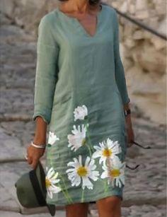 Half Sleeve Dresses, Knee Length Dresses, Half Sleeves, Daily Dress, Mini Vestidos, Floral Tunic, Types Of Dresses, Latest Fashion For Women, Green Dress