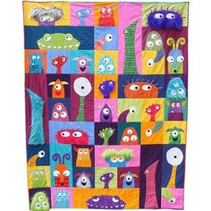 (7) Name: 'Quilting : Scary Squares monster quilt pattern