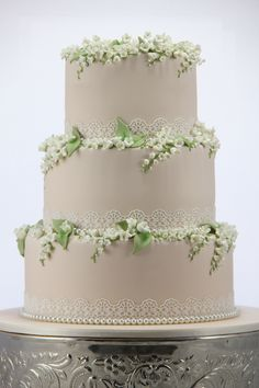 Lily of the Valley Wedding cake with edible lace