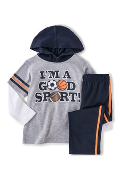 I'm A Good Sport Pullover Twofer & Athletic Pant Set (Baby Boys) by Kids Headquarters on @HauteLook