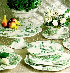 Green Bunny Toile so cute for Easter!!!