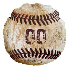 Rustic Fossil look Round Vintage Baseball Pillows. Fantastic baseball team gifts, baseball Christmas gifts or how about baseball man cave decor. Type your Jersey Number or Monogram into text box template. CLICK: http://www.zazzle.com/your_jersey_number_round_vintage_baseball_pillows-256932983311903259?rf=238012603407381242*  See lots more vintage baseball room decor ideas and other personalized baseball gifts HERE: http://Zazzle.com/YOURSPORTSGIFTS* CALL us for  HELP and Changes…