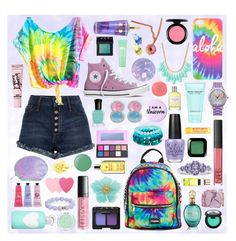 A fashion look from June 2016 featuring tye dye t shirts, destroyed shorts and purple high tops. Browse and shop related looks. Girly Girl Outfits, Teenager Outfits, Cute Outfits For Kids, Cute Girls, Cool Outfits, Pastel Goth Outfits, Kawaii Fashion, Cute Fashion, Girl Fashion