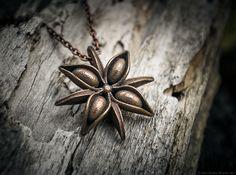 Anise Pendant 3d printed Keychains Pendants Polished Bronze Steel