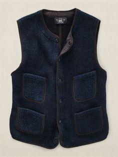 RRL - Indigo-Dyed Snap-Front Vest