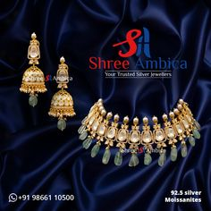 Discover this gem of a necklace set reflecting regal perfection fashioned in 92.5 silver and pure Moissanites from Shree Ambica - Your Trusted Jewellers. Pick this for the upcoming festive/wedding season. Readily available in stock For Price and Details Message on - +919866110500 #ShreeAmbica #TrustedJewellers #SilverJewellery #jadau #jadaujewellery #polkijewellery #indianbride #indianwedding #jewelryaddict #handcraftedjewellery #finejewellery Silver Jewellery, Fine Jewelry, Jewellery Designs, Wedding Season, Necklace Set, Handcrafted Jewelry, Festive, Gems, Pure Products