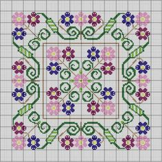 This pattern was inspired by Mexican folk embroidery. Worked in the colors of Spring - Primavera. It is comprised of a center square surrounded by a coordinating floral border, which can be used togther or separately - it's like having 2 patterns in one.