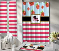 Horse Themed Shower Curtain.  Pink & White Stripes. Floral Shower Curtain. Black Stripe.