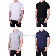 db391a19b Details about Mens 100% Cotton Solid Short Sleeve Slim Fit Polo Shirts With  Side Vents S~XL