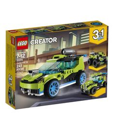 LEGO Creator - Rocket Rally Car and thousands more of the very best toys at Fat Brain Toys. Build a detailed, rocket-powered race car and then transform it into a Jet Truck, or a Quad Bike! The race car features a back door th. Lego Creator, The Creator, Lego Juniors, Shop Lego, Buy Lego, Ford Mustang Gt, Lego City, Legos, Rocket Engine