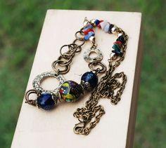 India Mayura Handmade Glass Bead Gemstones Chips Brass Metal Long Necklace #Jeanninehandmade #Wrap
