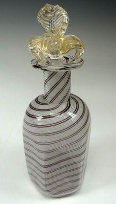 Murano Glass Perfume Bottle, Purple and White Swirl Pattern