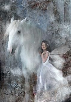 Horse in girl in white...