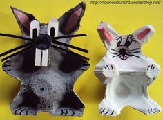 Bunny egg carton crafts for kids Animal Crafts For Kids, Easy Crafts For Kids, Craft Activities For Kids, Diy For Kids, Egg Carton Art, Egg Carton Crafts, Egg Cartons, Egg Box Craft, Puppet Crafts
