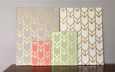 Hand-Painted Acrylic Chevron by SquirrelsAndStripes - spray paint canvas gold, put tape strips on, paint a different colour