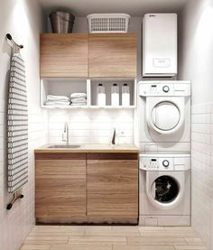 Awesome Small Laundry Room Decor Ideas For Your House 02 Laundry Room Layouts, Modern Laundry Rooms, Laundry Room Cabinets, Farmhouse Laundry Room, Basement Laundry, Bathroom Laundry, Farmhouse Style, Modern Farmhouse, Pool Bathroom