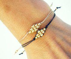 Items similar to Thread bracelet, Knotted bracelet, friendship bracelet - gold beads and nylon cord on Etsy Diy Bracelets Easy, Thread Bracelets, Bracelet Knots, Bracelet Crafts, Bracelet Making, Jewelry Crafts, Knotted Bracelet, Braclets Diy, Macrame Bracelet Diy