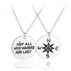 "New Inspirational Compass Necklace ""Not All Who Wander Are Lost ""Pendant silver lover's Necklaces Wanderlust Handstamp Jewelry Necklace Types, Drop Necklace, Crystal Necklace, Pendant Necklace, Compass Necklace, Wanderlust, Heart Chain, Box Chain, Necklace Extender"