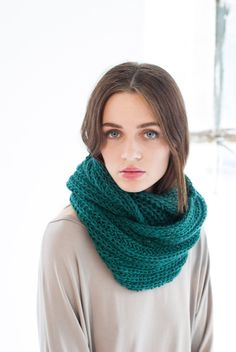 Great gift for sister. Casual Teal Blue Infinity Scarf / Chunky Knit Scarf - staple accessory you need for any chilly day. Extremely cozy and soft, made of premium Italian wool mix yarn – a unique product by marcellamoda via en.DaWanda.com
