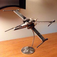 Metal art sculpture of an X-Wing style jet. Metal Art Projects, Welding Projects, Metal Crafts, Welding Ideas, Diy Projects, Art Crafts, Blacksmith Projects, Project Ideas, Metal Welding