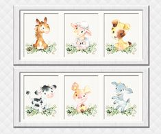Farm Animals Nursery art prints Neutral gender wall decor girl boy room decoration baby shower gift toddler Piglet Dog Horse Cow Sheep Baby Room Wall Decor, Baby Girl Nursery Decor, Boys Room Decor, Boy Room, Nursery Art, Farm Animal Nursery, Animal Room, Kids Artwork, Kids Room Art