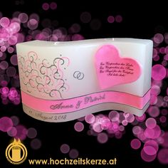 Hochzeitskerze rosa Herz Welle Dog Bowls, Pink, Wave, Candles, Homemade, Gifts