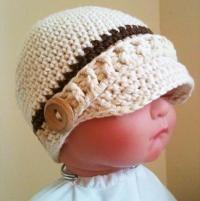 Crocheting: Crocheted Baby Newsboy Hat