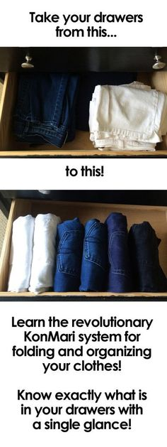 Do you know the proper way to fold and store your pants so you can tell at a glance exactly what you have? Learn the KonMari method of organization for your clothes and have the prettiest drawers in town! Source by organization Organisation Hacks, Dresser Organization, Storage Organization, Organising, Organizing Dresser Drawers, Closet Drawers, Organization For Clothes, Organizing Ideas, Clothes Storage Ideas Without A Closet