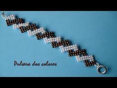 DIY- Pulsera de dos colores – Two color bracelet - Armband Ideen Bracelet Crochet, Beaded Braclets, Beaded Bracelets Tutorial, Beaded Bracelet Patterns, Jewelry Patterns, Beaded Earrings, Diy Bracelet, Beading Patterns, Seed Bead Bracelets Diy