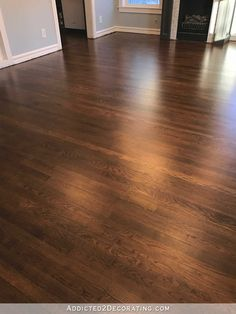 My Newly Refinished Red Oak Hardwood Floors - Addicted 2 Decorating® - refinished red oak hardwood floors – entryway and living room - Hardwood Floor Stain Colors, Living Room Hardwood Floors, Refinishing Hardwood Floors, Oak Hardwood Flooring, Laminate Flooring, Grey Laminate, Stone Flooring, Penny Flooring, Floor Refinishing