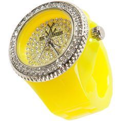 TOYWATCH ToyRing Neon Yellow Embellished ring watch ($76) ❤ liked on Polyvore