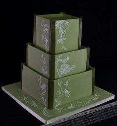 Sage wedding cake by Design Cakes, via Flickr